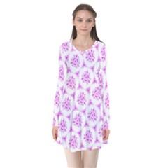 Sweet Doodle Pattern Pink Flare Dress