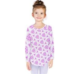 Sweet Doodle Pattern Pink Kids  Long Sleeve Tee