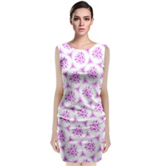 Sweet Doodle Pattern Pink Sleeveless Velvet Midi Dress