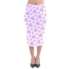 Sweet Doodle Pattern Pink Velvet Midi Pencil Skirt