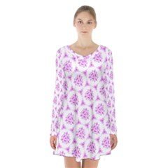 Sweet Doodle Pattern Pink Long Sleeve Velvet V Neck Dress