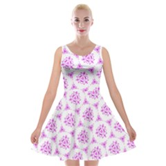 Sweet Doodle Pattern Pink Velvet Skater Dress