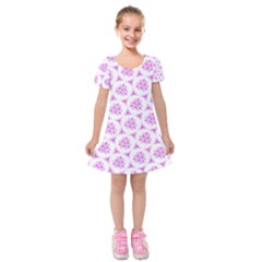 Sweet Doodle Pattern Pink Kids  Short Sleeve Velvet Dress