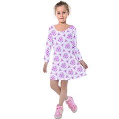 Sweet Doodle Pattern Pink Kids  Long Sleeve Velvet Dress