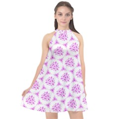 Sweet Doodle Pattern Pink Halter Neckline Chiffon Dress