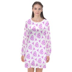 Sweet Doodle Pattern Pink Long Sleeve Chiffon Shift Dress
