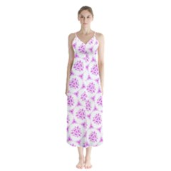 Sweet Doodle Pattern Pink Chiffon Maxi Dress