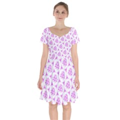 Sweet Doodle Pattern Pink Short Sleeve Bardot Dress