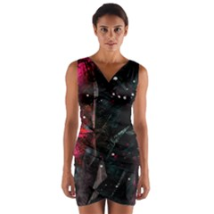 Abstract design Wrap Front Bodycon Dress