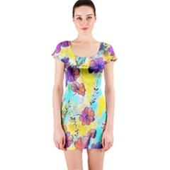 Floral Dreams 12 Short Sleeve Bodycon Dress by MoreColorsinLife