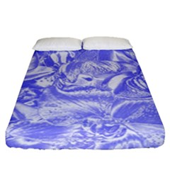 Shimmering Floral Damask,blue Fitted Sheet (queen Size)