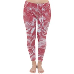 Shimmering Floral Damask Pink Classic Winter Leggings