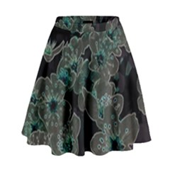 Glowing Flowers In The Dark C High Waist Skirt by MoreColorsinLife
