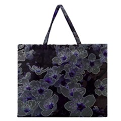 Glowing Flowers In The Dark B Zipper Large Tote Bag by MoreColorsinLife