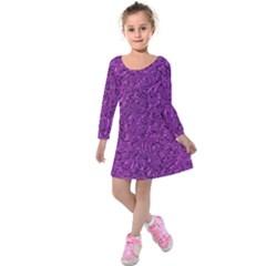 Sparkling Metal Art F Kids  Long Sleeve Velvet Dress by MoreColorsinLife