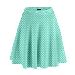 Tiffany Aqua Blue with White Lipstick Kisses High Waist Skirt