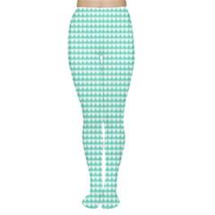 Solid White Hearts on Pale Tiffany Aqua Blue Women s Tights by PodArtist