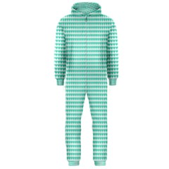 Tiffany Aqua Blue Candy Hearts on White Hooded Jumpsuit (Men)  by PodArtist