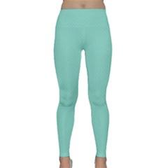 Tiffany Aqua Blue Puffy Quilted Pattern Classic Yoga Leggings by PodArtist