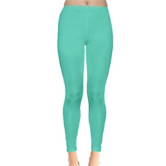 Classic Tiffany Aqua Blue Solid Color Leggings  by PodArtist