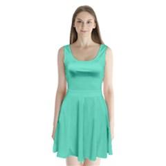 Classic Tiffany Aqua Blue Solid Color Split Back Mini Dress  by PodArtist
