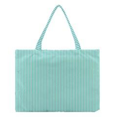 Classy Tiffany Aqua Blue Sailor Stripes Medium Tote Bag by PodArtist
