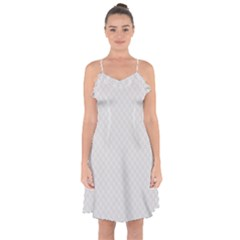 Bright White Stitched and Quilted Pattern Ruffle Detail Chiffon Dress by PodArtist