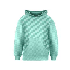 Tiffany Aqua Blue Diagonal Sailor Stripes Kids  Pullover Hoodie by PodArtist