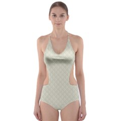 Rich Cream Stitched and Quilted Pattern Cut-Out One Piece Swimsuit by PodArtist