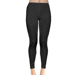 Sleek Black Stitched And Quilted Pattern Leggings  by PodArtist