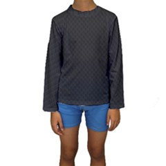 Sleek Black Stitched and Quilted Pattern Kids  Long Sleeve Swimwear by PodArtist