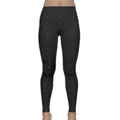 Sleek Black Stitched And Quilted Pattern Classic Yoga Leggings by PodArtist