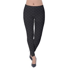 Sleek Black Stitched and Quilted Pattern Velvet Leggings by PodArtist