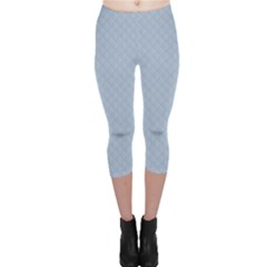 Powder Blue Stitched and Quilted Pattern Capri Leggings  by PodArtist