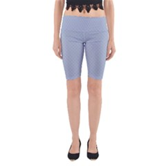 Powder Blue Stitched and Quilted Pattern Yoga Cropped Leggings by PodArtist