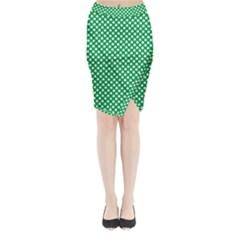White Shamrocks On Green St. Patrick s Day Ireland Midi Wrap Pencil Skirt
