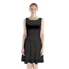 Black and Grey Perforated PInhole Carbon Fiber Sleeveless Waist Tie Chiffon Dress