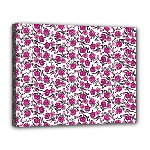 Roses Pattern Canvas 14  X 11  by Valentinaart