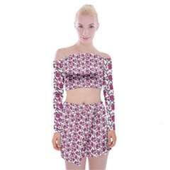 Roses Pattern Off Shoulder Top With Skirt Set by Valentinaart