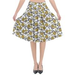 Roses Pattern Flared Midi Skirt by Valentinaart