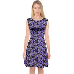 Roses Pattern Capsleeve Midi Dress