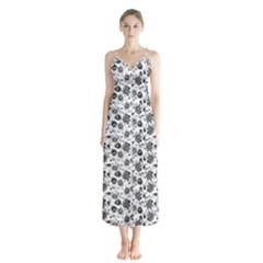 Roses Pattern Button Up Chiffon Maxi Dress by Valentinaart