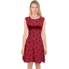 Roses pattern Capsleeve Midi Dress by Valentinaart