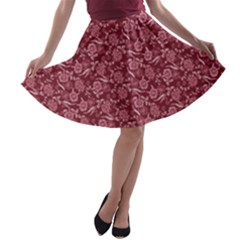 Roses Pattern A Line Skater Skirt by Valentinaart