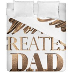 World s Greatest Dad Gold Look Text Elegant Typography Duvet Cover Double Side (california King Size) by yoursparklingshop