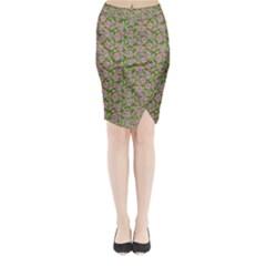 Roses Pattern Midi Wrap Pencil Skirt by Valentinaart