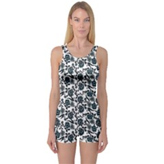 Roses Pattern One Piece Boyleg Swimsuit
