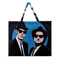 Blues Brothers  Zipper Large Tote Bag by Valentinaart