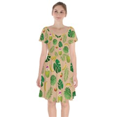 Tropical Pattern Short Sleeve Bardot Dress by Valentinaart