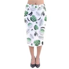 Tropical pattern Velvet Midi Pencil Skirt by Valentinaart